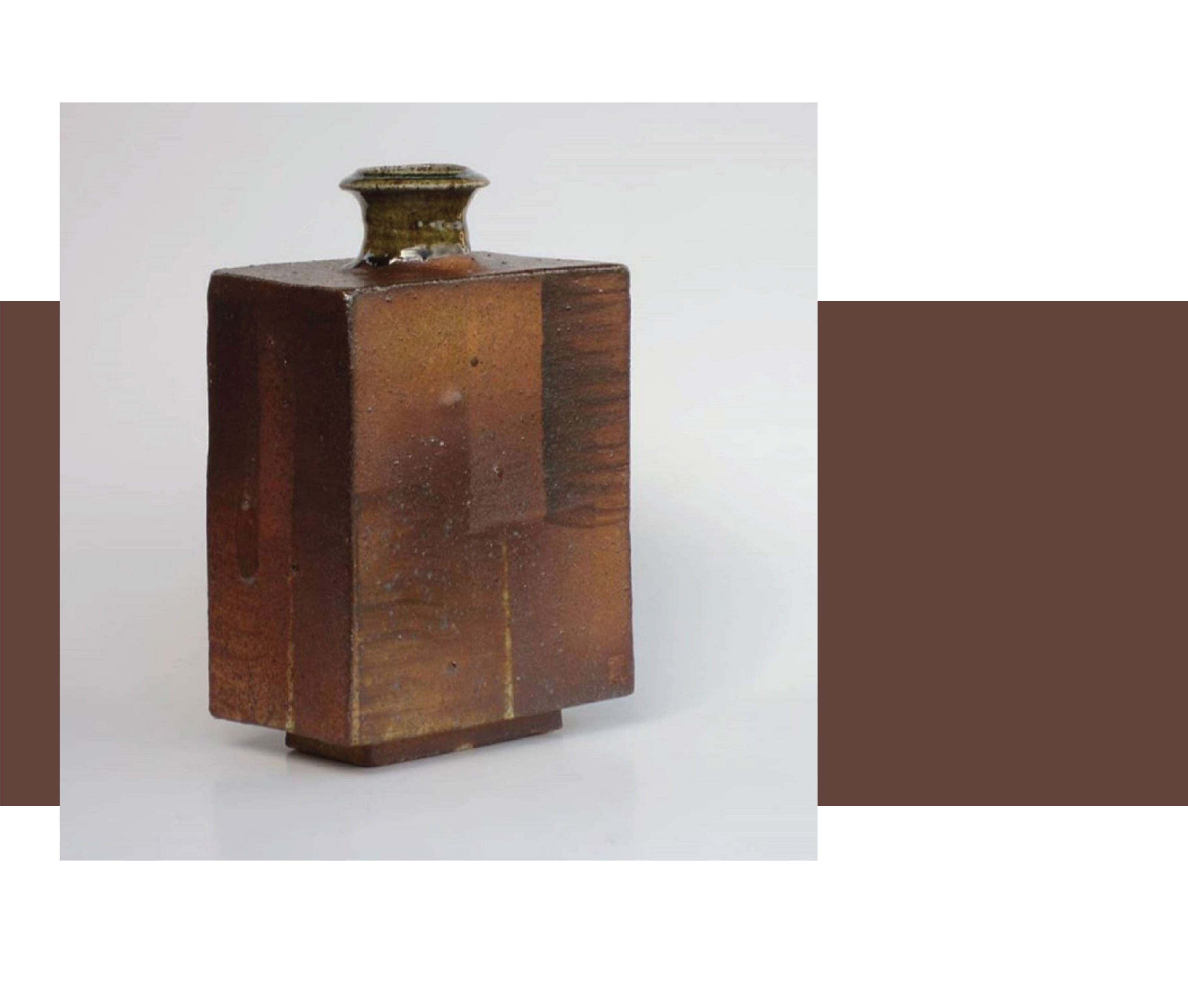 A rectangle vase with grid pattern in shades of copper and brown, , by New Zealand potter and ceramist Steve Aitkin.