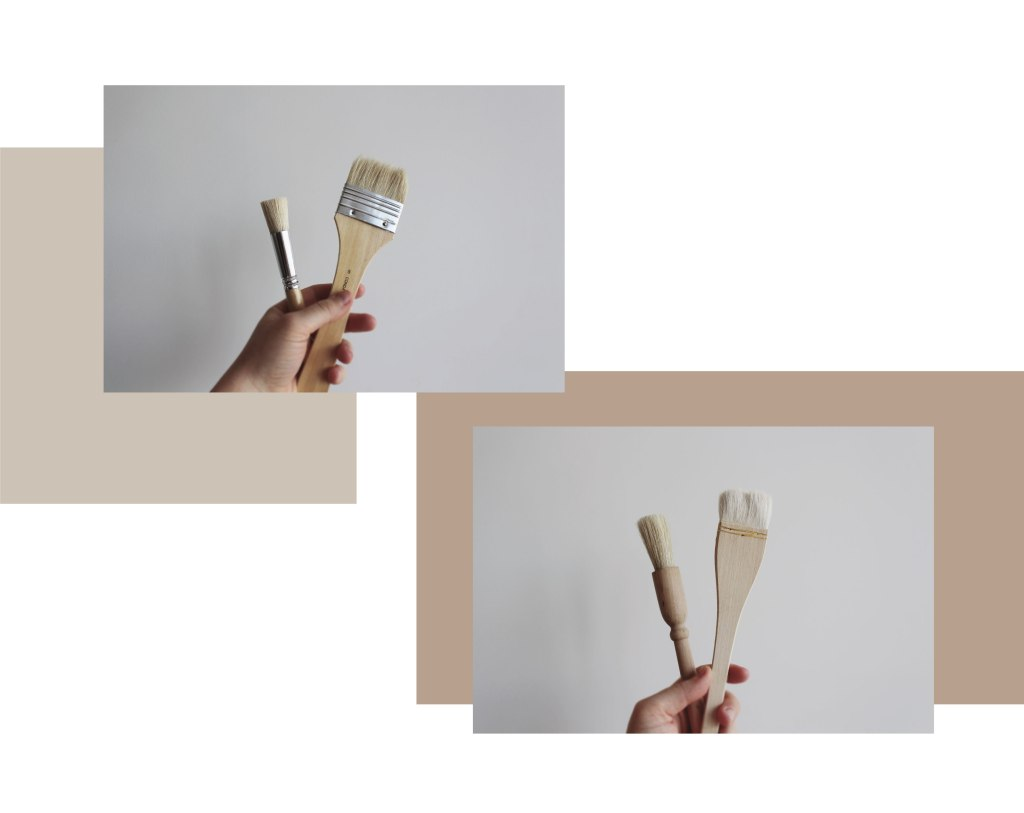 Four pottery brush tools in hands. Brushes from left to right hogs hair paint brushes, pastry brush with wooden handle, hake brush for glazing.