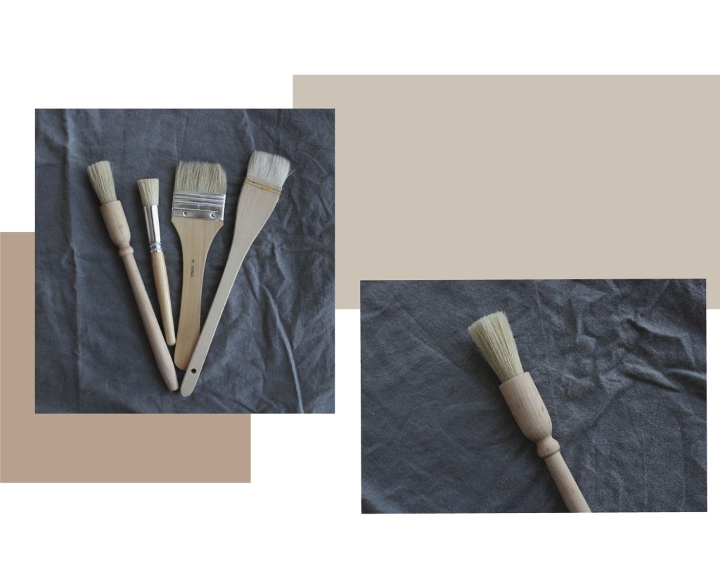 Four pottery brush tools. Brushes from left to right pastry brush, hogs hair paint brushes, hake brush for glazing.